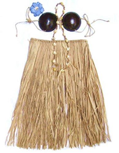 Hawaiian Costume Coconut Bra (Hawaiian Grass Skirt Set Coconut Bra Top Natural Toddler)
