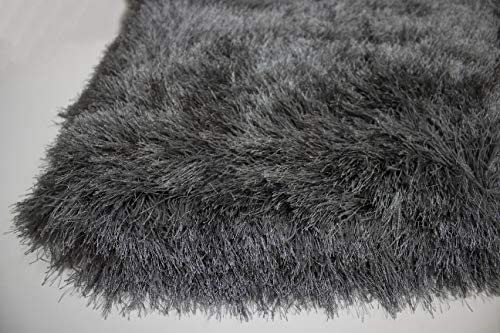 LA Shag Shaggy Fluffy Large Furry Rectangular Solid Patterned Plush Fur Large Fuzzy Floor Soft Plain Modern Pile 8-Feet-by-10-Feet Polyester Made Area Rug Carpet Rug Gray Grey Color