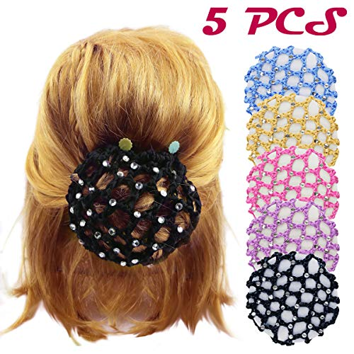DLOnline 5PCS Women Girl Rhinestone Bun Cover Crochet Snood Hair Net For Ballet Dance Skating,Bun Cover Snood Hair Net Ballet Dance Skating Chic Crochet With Pearl