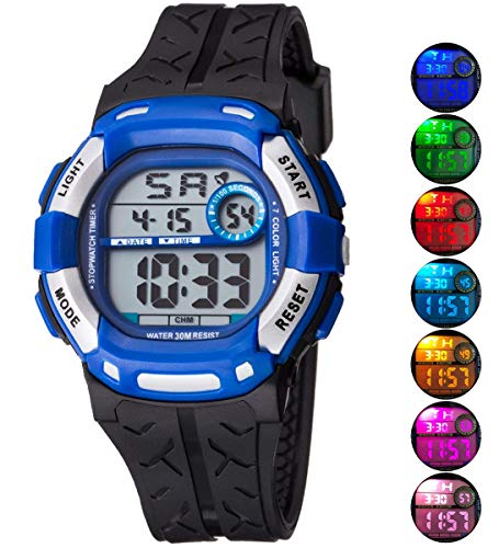 Kids Watch Sport Multi Function 30M Waterproof LED Alarm Stopwatch Digital Child Wristwatch for Boy Girl by Takyae