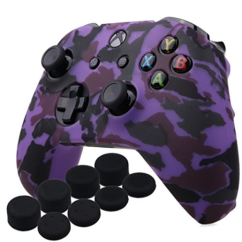YoRHa Water Transfer Printing Camouflage Silicone Cover Skin Case for Microsoft Xbox One X & Xbox One S controller x 1(purple) With PRO thumb grips x 8 For Sale