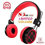 Kids Headphones Bluetooth 85dB Volume Limiting On Ear Headphones Foldable Headset Earphones AUX 3.5mm Jack Mirco SD Card Slot FM Radio Students Children PC Tablets Cellphone(Red)