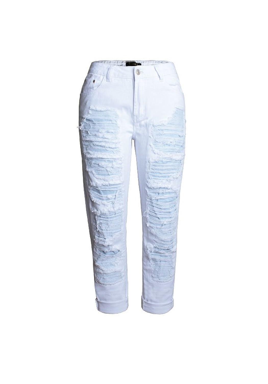 Haogo Womens Fashion Loose High Rise Destroyed Straight-Leg Boyfriend Jeans