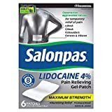 Health & Personal Care : Salonpas, Lidocaine 4%, Gel-Patch, 6 Count, Maximum Strength Available OTC, Lidocaine Patch for Pain Relief, Numbing Pain Relief for Back Pain, Neck, Shoulder, Knee Pain, Muscle Soreness and Pain