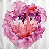 BROSHAN Fabric Bathroom Shower Curtain,Pink Flamingo Beautiful Flower Decor Kid Shower Curtain for Girl Bathroom Nature Scene Waterproof Fabric Bathroom Accessories with Hooks,72x72 inch,White,Pink