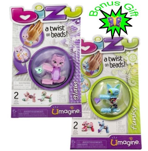 UMAGINE BIZU - 2 Boxes BIZU Beads (with BONUS gift) - FUNKY and GLAM (Bonus Gift is a Novelty Butterfly Eraser) - BIZU Style Studio - Bizu Basic Packs - More BIZU BEADS At Our Storefront - Link Below in