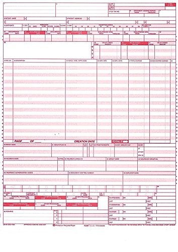 Cms Health Insurance Form (UB-04 (CMS 1450) Health Hospital Insurance Claim Form, Laser 8-1/2 x 11
