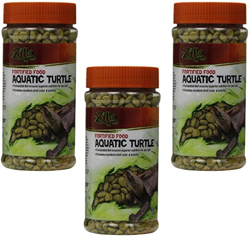 Zilla (3 Pack) Aquatic Turtle Fortified Food, 6-Ounce Containers