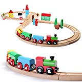 SainSmart Jr. Wooden Train Set Toy with Double-Side Train Tracks, 4 Magnetic Train