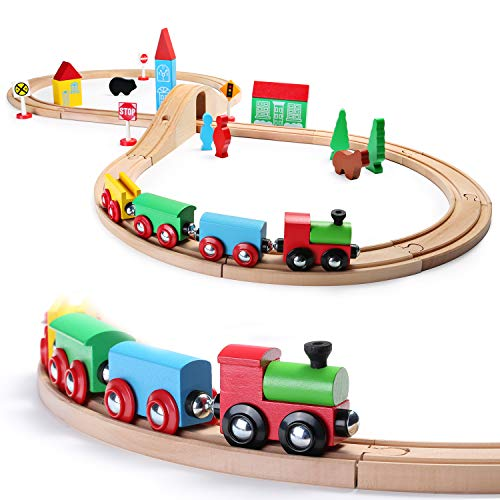 Deluxe Wooden Train Set - SainSmart Jr. Wooden Train Set Toy with Double-Side Train Tracks, 4 Magnetic Train Cars and Wooden Bridge Railway Set for Toddlers, 37 PCS