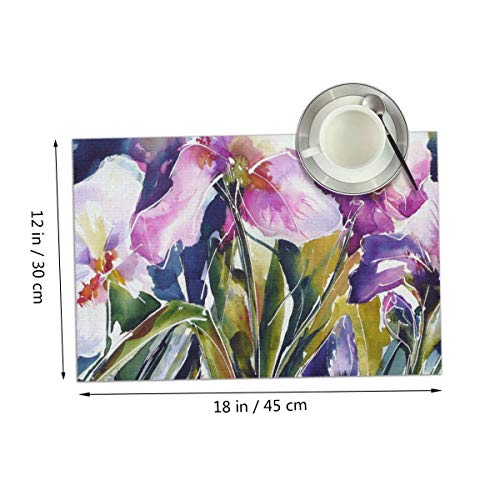 Carmen Belinda Pink Flowers Painting Placemats Set of 4 for Dining Table Washable Place Mats for Kitchen/Dinning Table, Home Table Decor Non-Slip Heat Resistant, 12x18 Inches ()