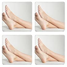 Liili Square Coasters IMAGE ID 12956909 Woman s Bare Feet with her Ankles Crossed and Elevated