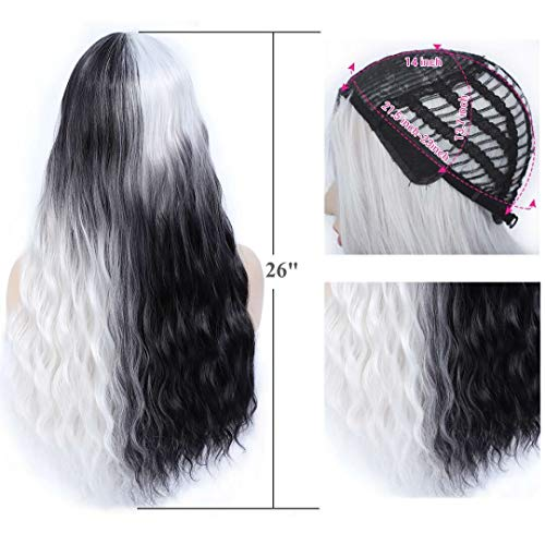 Amchoice Long Curly Wavy Wigs for Women Ombre Black and White Wig Cosplay Halloween Party