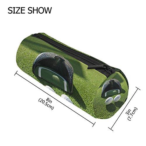 Pen Golf Bag Shape - Pencil Case Cylinder Shape Holders Vintage Golf Grass Sport Pen Stationery Pouch Bag with Zipper Makeup