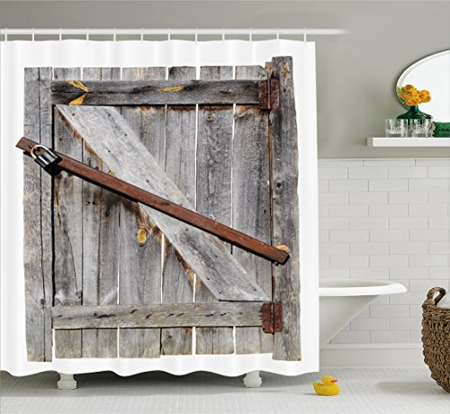 Ambesonne Rustic Shower Curtain, Aged Wood Barn Door with Rusty Crossed Locks Abandoned Ancient Western Farmhouse Design, Fabric Bathroom Decor Set with Hooks, 70 Inches, (Abandoned Farm)