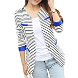 HaoMing Fashion Casual Work Blazer Office Jacket Lightweight for Women and Juniors #1 White 10