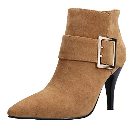 High High KemeKiss Heels Fashion Ankle Brown Stiletto Shoes Women's Boots 1wgtqt