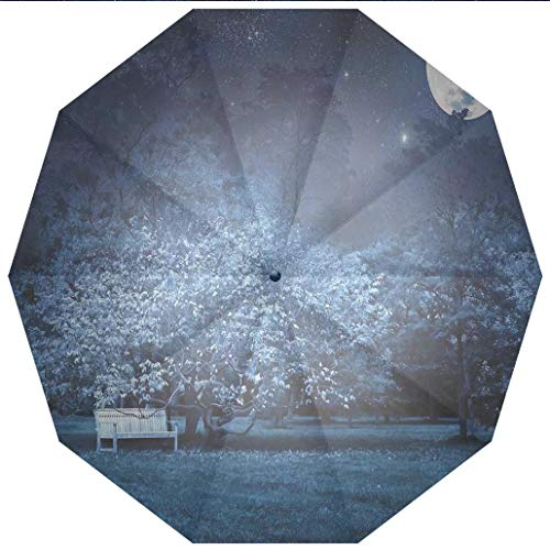 Compact Travel Umbrella UV Protection Auto Open Close Fantasy House Decor,Surreal Scene of full Moon Light Night in Park with Bench under Windproof - Waterproof - Men - Women -Lightweight- 45 inches