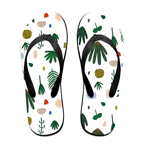Unisex Tropisch Patroon Zomer Band Slippers Strand Slippers Platforms Sandaal Voor Mannen Vrouwen Zwart