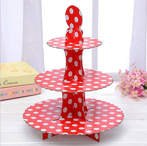 3-tier Cardboard Party Cupcake Display Stand/ Dessert Stand/ Tea Party Pastry Serving Platter/ Food Display Stand-Big red dot