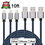 Iconew 3Pack 10FT Ultra Long Nylon Braided iPhone Charging Cable USB Cord Charger Compatible with iPhone 7/ 7Plus/ SE/ 6s/ 6 /6 Plus/ 6s Plus/ 5s/ 5c/ 5/ iPad Air/ Mini/ iPod Nano/ Touch (Blue)