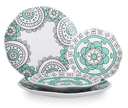 Dinner Plates Dinnerware Set - Porcelain Mint Blue Appetizer Dessert Plates, Hand Painted Floral Pattern Luncheon Plates, Housewarming Gift, 4 Pieces ()