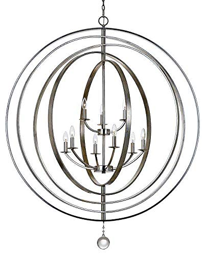 (Crystorama 587-SA Transitional Nine Light Chandelier from Luna collection in Pwt, Nckl, B/S, Slvr.finish, 43.50 inches)