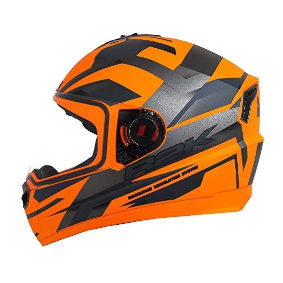 Steelbird SBA-1 R2K Full Face Graphics Helmet in (Medium 580 MM, Matt Black Neon with Clear Visor)
