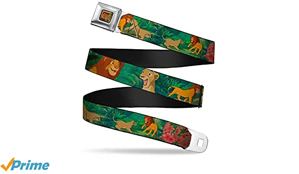 1.0 Wide 20-36 Inches in Length Simba /& Nala Snuggle//Play Poses Buckle-Down Seatbelt Belt