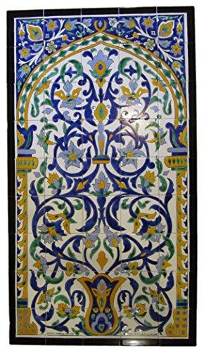 Tunisian Tile Mural Set - Flower Pot Yellow/Blue by Le Souk Ceramique