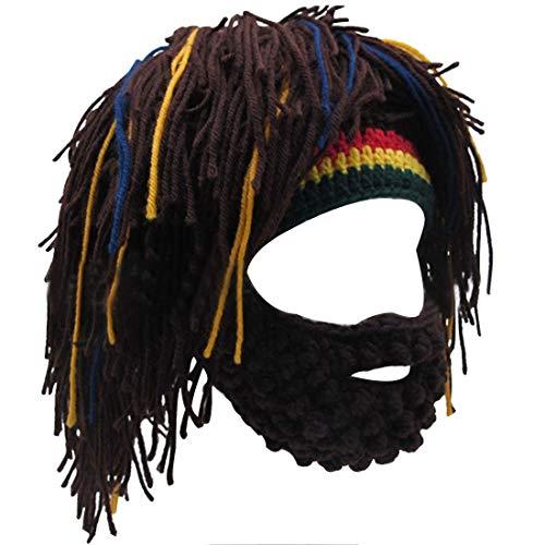 Lerben Men Women Knit Bearded Hats Handmade Wig Winter Warm Ski Mask Beanie (Coffee)