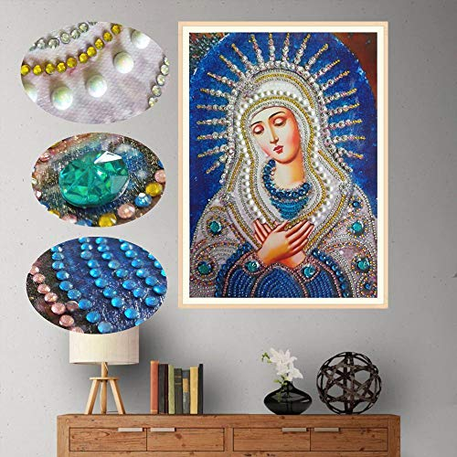 Special Shaped Diamond Painting Madonna - Franterd DIY 5D Partial Drill Cross Stitch Kits Crystal Rhinestone of Picture Diamond Embroidery Mosaic Arts Craft Home Wall Decor by Franterd Home Decor (Image #1)