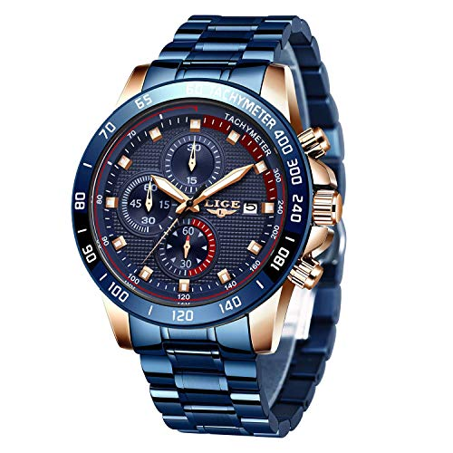 LIGE Men Watches Elegant Sports Waterproof Analog Quartz Stainless Steel Wrist Watches Military Chronograph Blue Multifunction Band Watch for Men