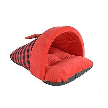 Ropa para Mascotas goodbene Lindo Enrejado Zapatillas en Forma Suave Corta Felpa Cama del Animal doméstico Perrera Caliente (Rojo): Amazon.es: Productos ...