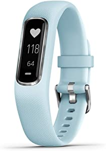 Garmin vivosmart 4, Activity and Fitness Tracker w/Pulse Ox and Heart Rate Monitor, Silver with Light Blue Band