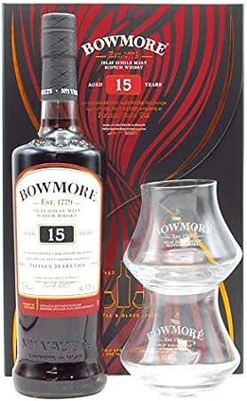 Bowmore 15y,Bowmore 15y + estuche con 2 vasos,700 ml,Contenido de alcohol (alc/vol): 40.0 percent_by