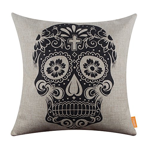(LINKWELL Skull Halloween All Hallows' Eve Linen Cushion Cover Pillow Case Mexican Day of the Dead Calavera All Souls Day D¨ªa De)