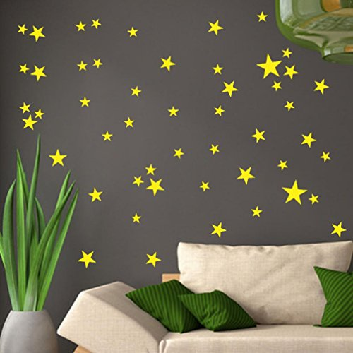 Highpot 34Pcs Stars Assorted Self Adhesive Wall Stickers Removable Art Vinyl Mural Home Room Decor Kids Rooms Wall Stickers (Yellow) ()