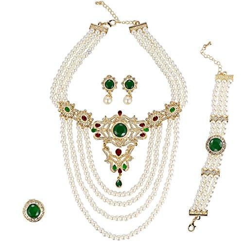 Green Zircon Necklace - Moochi 18K Gold Plated Simulated Pearl Beads Green Zircon Stone Necklace Jewelry Set