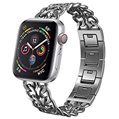 NO1seller Top Bands Compatible for Apple Watch 38mm 42mm, Metal Cowboy Style Bracelet Strap Replacement Wristband for Apple Watch Series 4 40mm and 44mm, 3/2/1 Design Idea from Western Cowboy's Spirit of Goodness, Brave and Freedom. Looks wi...