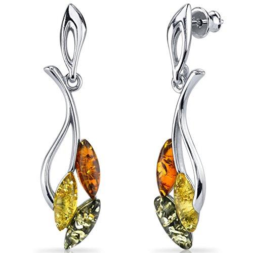 Baltic Amber Leaf Dangle Earrings Sterling Silver Multiple Color ()