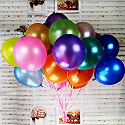 Jefferson 12-Inches Premium Pearl Metallic Latex Balloons for Parties Wedding Birthday Decoration and Events(100 pcs,Assorted Colors)
