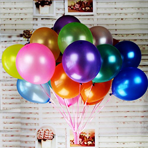 Jefferson 12-Inches Premium Pearl Metallic Latex Balloons for Parties Wedding Birthday Decoration and Events(100 pcs,Assorted Colors) ()