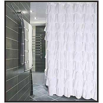 Amazon.com: Flamenco Ruffle Shower Curtain (white): Home & Kitchen