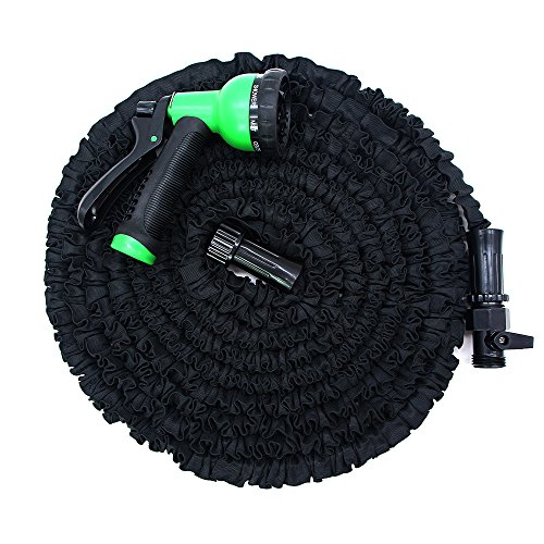 Garden Hose, 25ft Expandable Water Hose With Improved Leakproof Connector, Double Natural Latex Core, 8 Functions Spray Nozzle High Pressure Heavy Duty Watering Expanding Hose, Black by Garden Joy