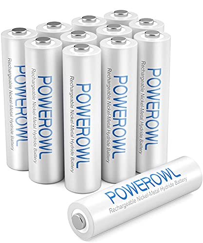 POWEROWL Piles AAA Rechargeables,1000mAh 1,2V Ni-Mh Accu AAA 1200 Cycles, Faible Auto-décharge Pile avec Emballage écologique Lot de 12
