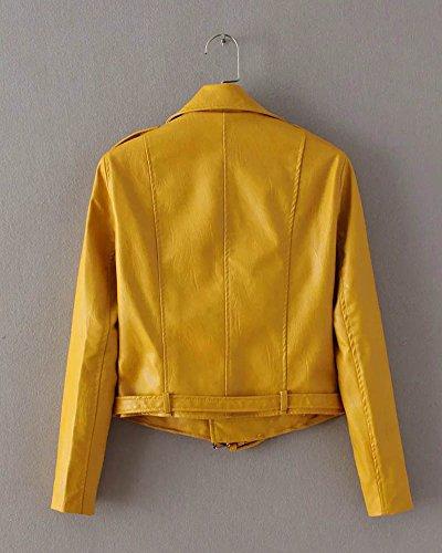Jacket Mujer SaiDeng Pu Amarillo Biker Ajuste Cuero Delgado Chaqueta Moto Zip AOw7xqga1