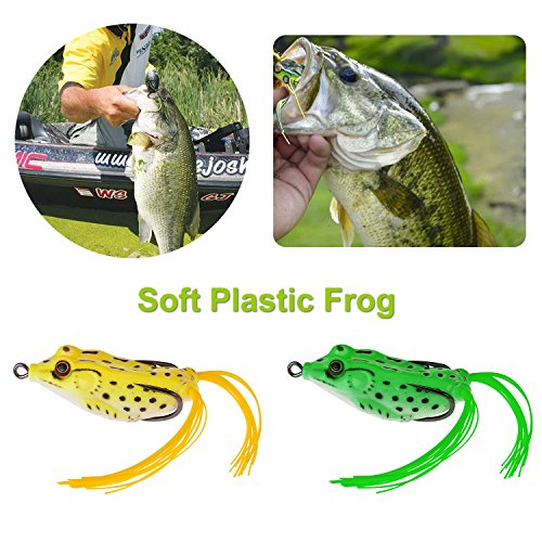 PLUSINNO® Fishing Lures Tackle, 102Pcs Including Frog Lures, Hard Lures, Crankbaits, Spinnerbaits, Spoon Lures, Soft Lures, Popper, Crank, Tackle Box and More Fishing Gear Lures Kit Set