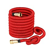 Greenbest New 50' Expanding, Ultimate Expandable Garden Hose, Solid Brass Connector Fittings (Red)