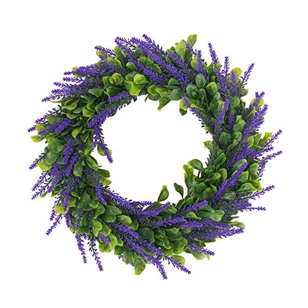 BOMAROLAN Artificial Lavender Wreath Flower 16 Inch Green Leaves Summer Fall Large DIY Wreaths Springtime for Outdoor Front Door Indoor Wall Or Window Décor (Dark Purple)